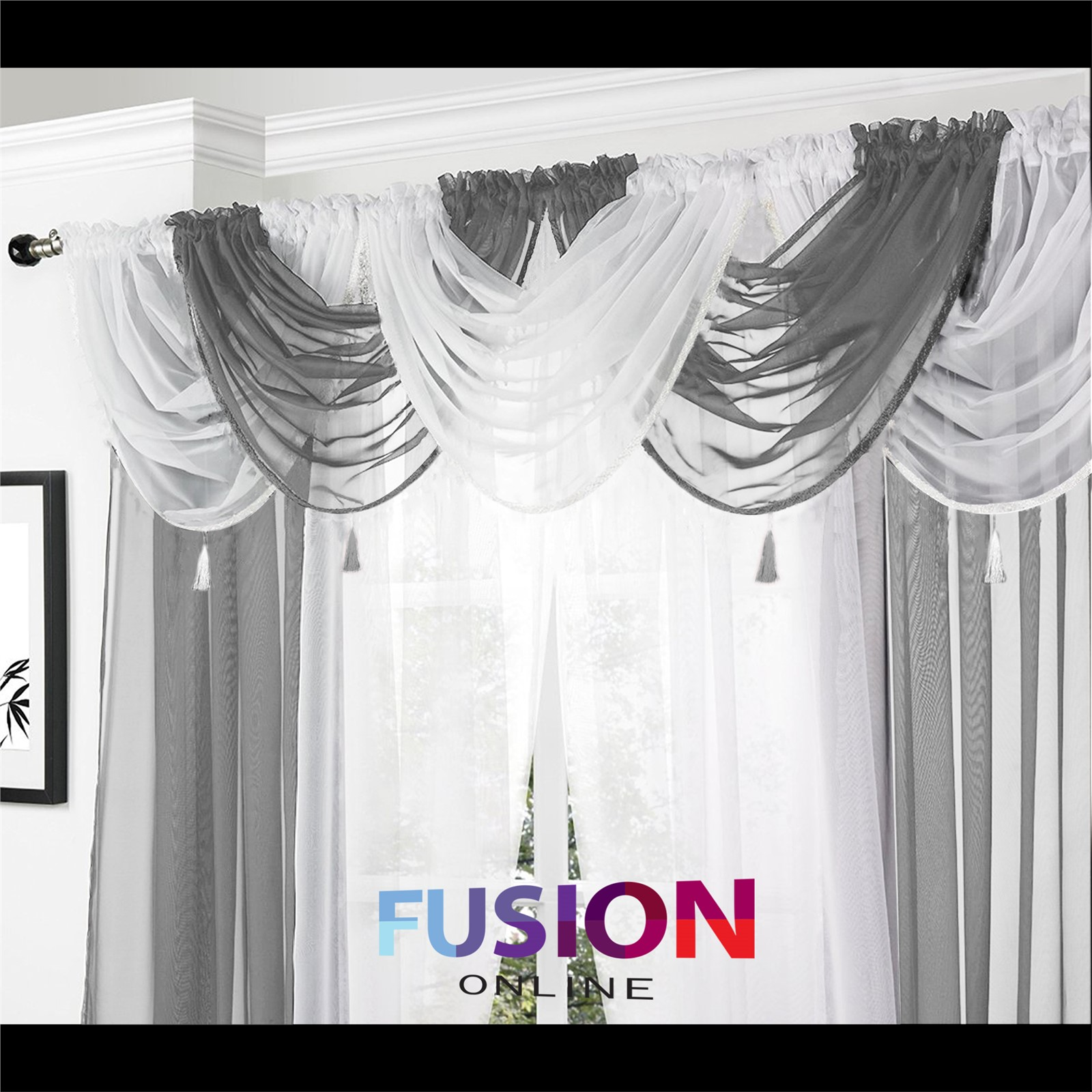 How To Hang Voile Curtains And Swags | www.redglobalmx.org for Grey And White Voile Curtains  555kxo