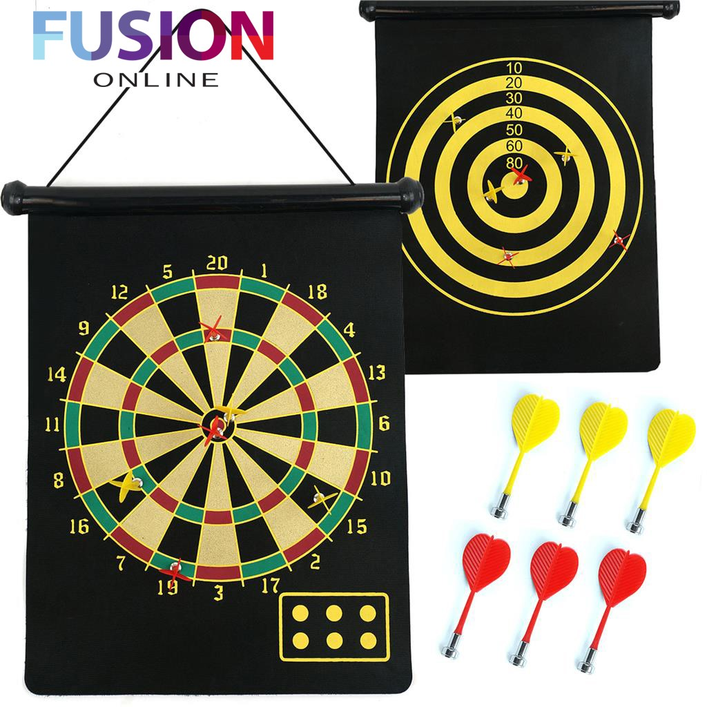 Magnetic Dartboard Roll Up With 6 Magnet Darts Double Sided Kids