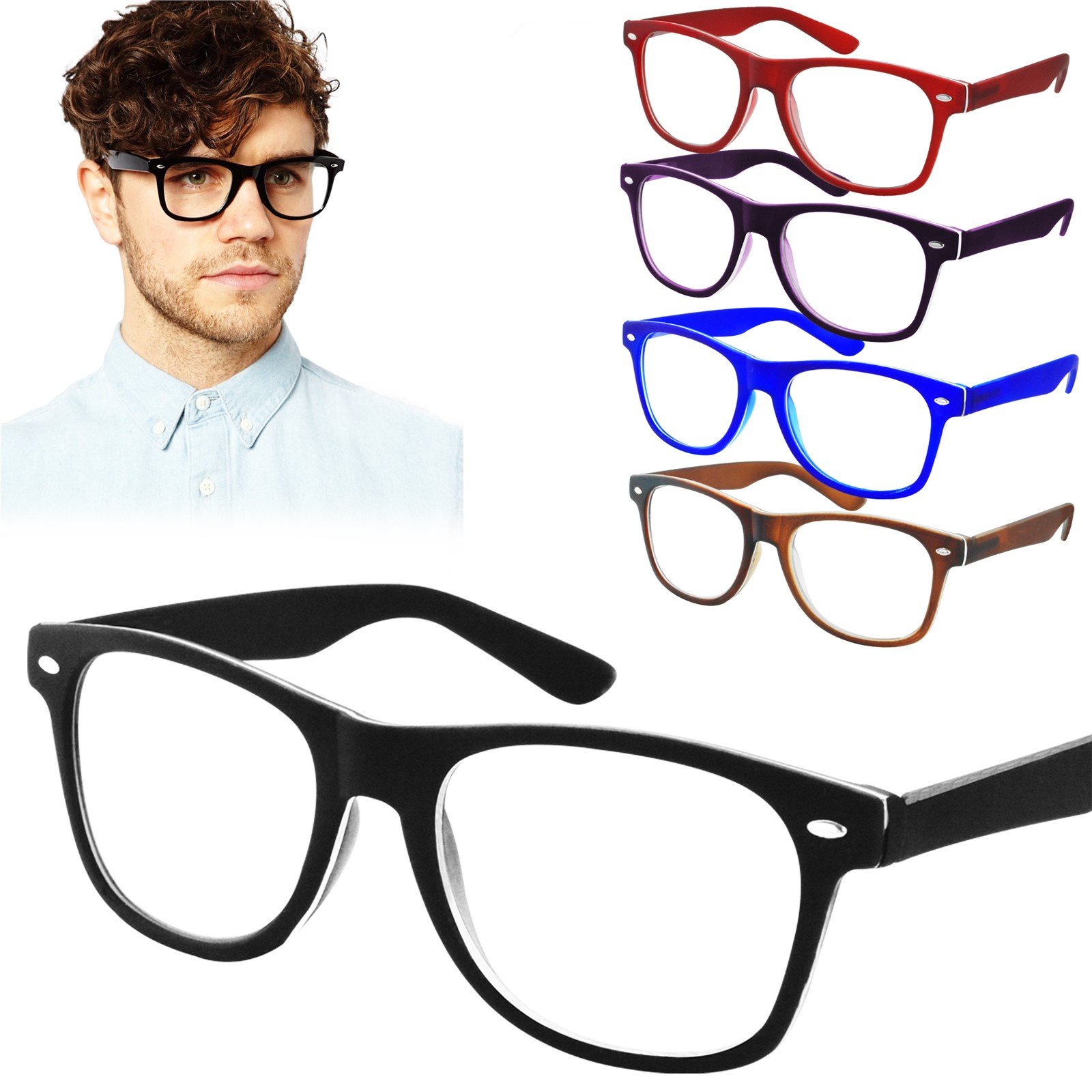 9b6b4b1794a Details about Reading Glasses +1.0 +3.0 Unisex Wayfarer Trendy Designer  Spring Men Women