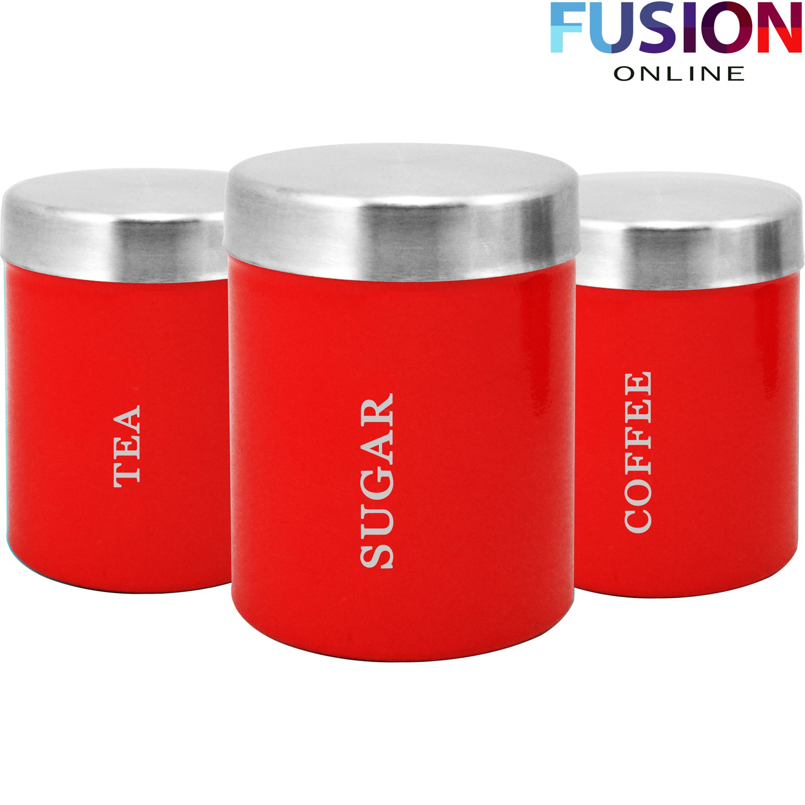 Orange Kitchen Canisters 3pc Canister Set Stainless Steel Coffee Tea Sugar Jar Lid