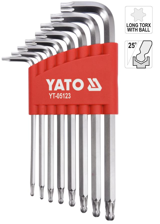 Sizes T9-T40 Set of 8 T-Handle Hex Keys//Allen Wrenches