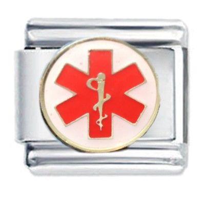 Caduceus Red Medical Symbol Daisy Italian Charm Fits Classic Size
