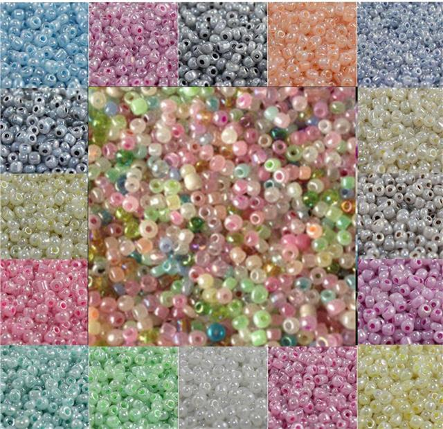 choose size 6//0 8//0 or 11//0 4, 3 or 2mm 100g WHITE CEYLON glass seed beads