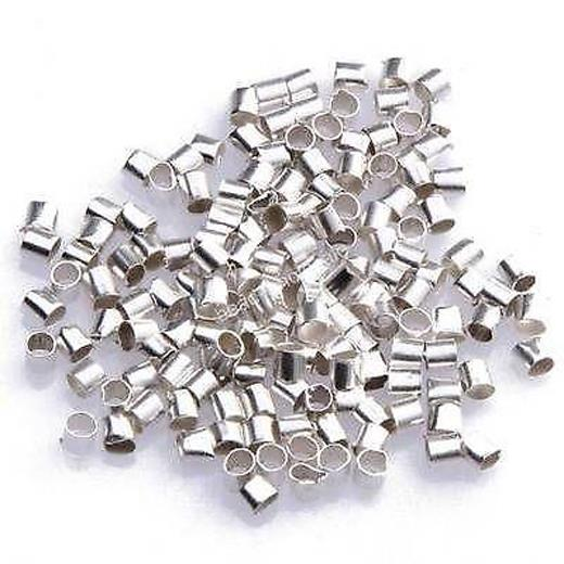 500 x 2mm Silver Plated Round Crimp Beads Jewellery B32