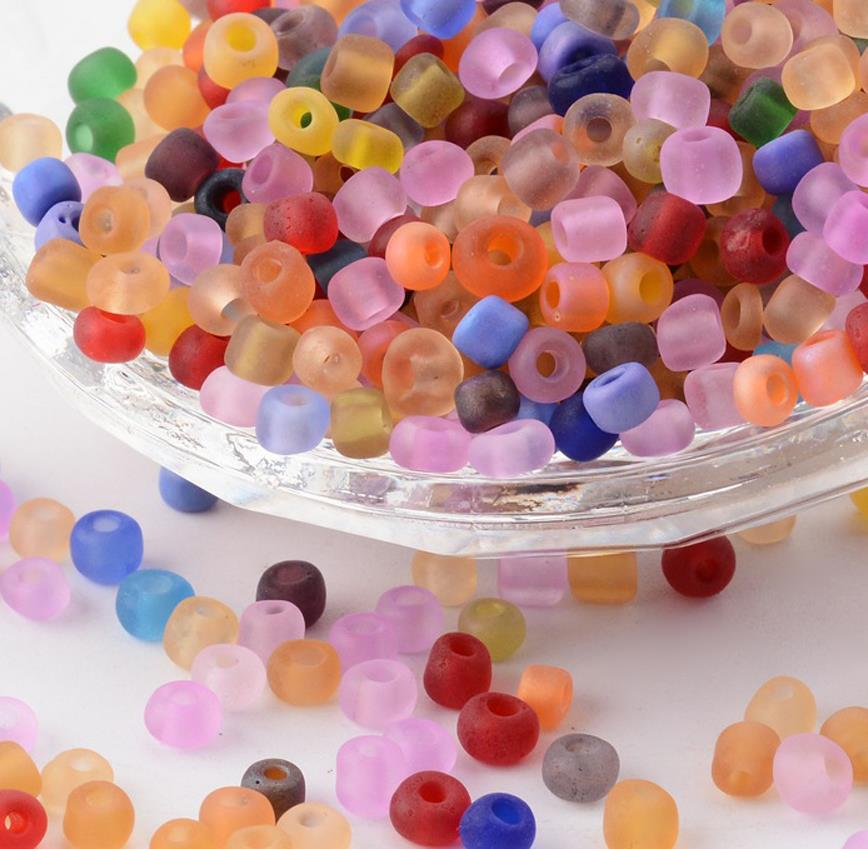 75g FROSTED GLASS SEED BEADS 11//0 2mm 8//0 3mm 6//0 4mm