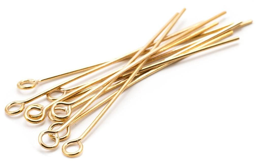 EYE PINS 30mm 200// 35mm 200// 40mm 175//  50mm 150// 60mm  100 x 0.7mm GOLD PLATED
