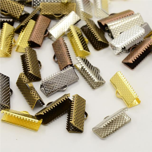 50 RIBBON END CRIMP CAPS BAIL TIPS 20mm  COLOUR CHOICE