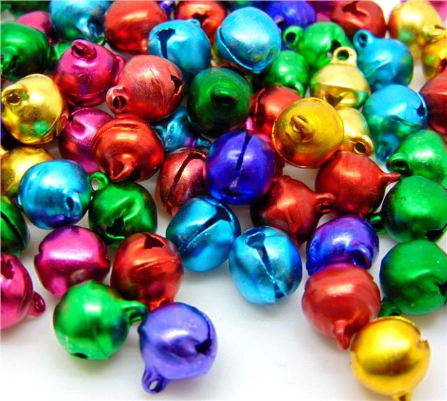 CHARMS 80 8mm SILVER PLATED JINGLE BELLS JEWELLERY CRAFT CHRISTMAS XMAS