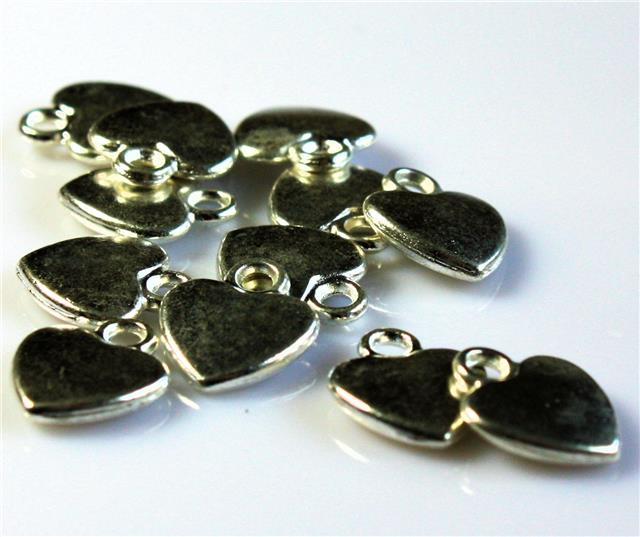 10 X tibetano plata corazón alternar Clasps 12mm X 14mm