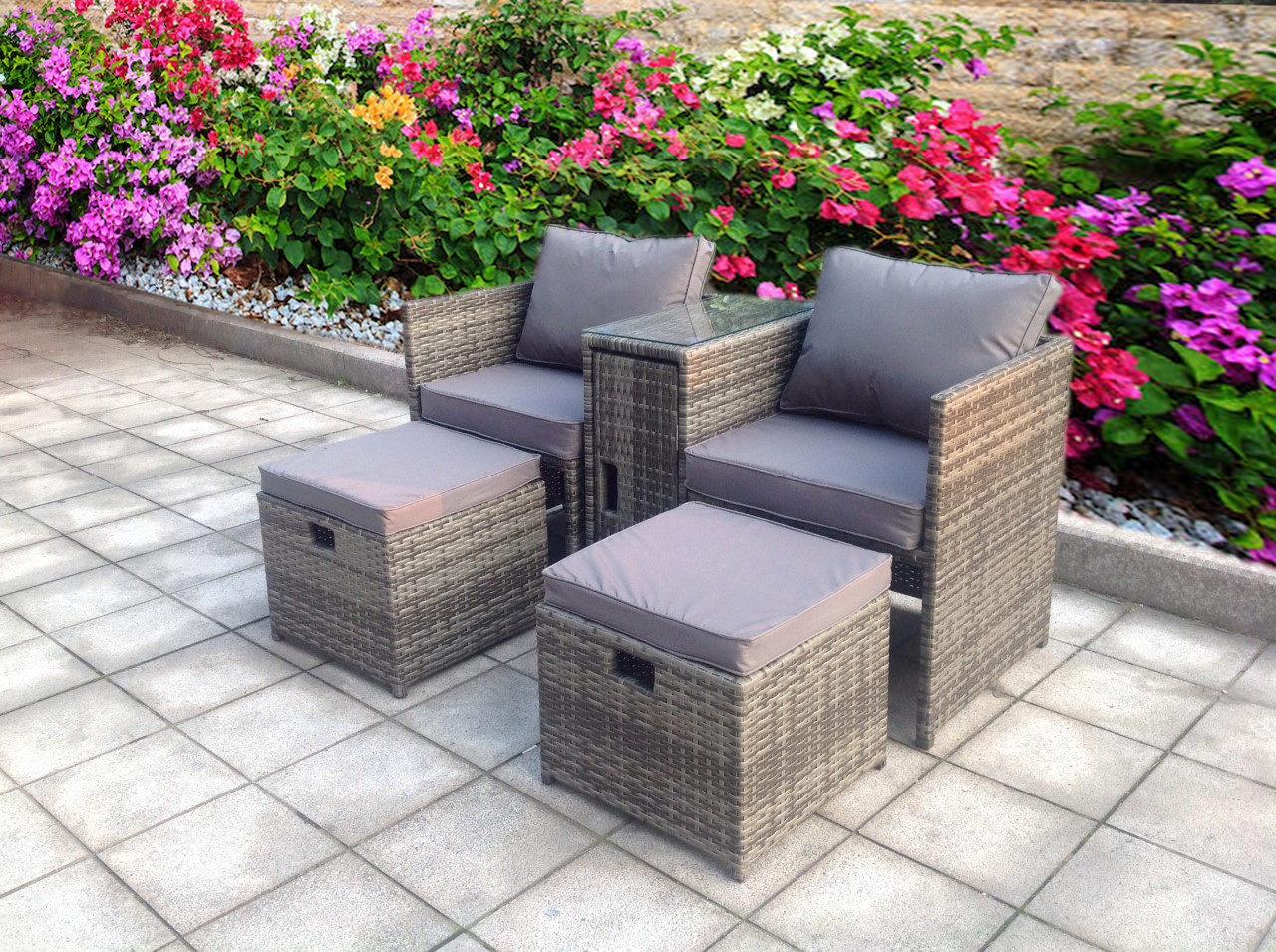 TWIN TABLE STOOLS RATTAN WICKER CONSERVATORY OUTDOOR ...