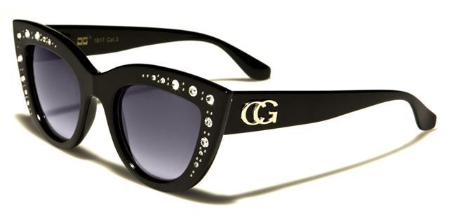 NEU schwarze Sonnenbrille Damen Mädchen CG Designer Cat Eye Vintage Retro oo6oPja