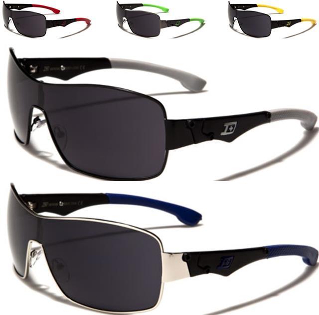 Homme sports wrap around visière lunettes de soleil shades miroir ski rétro noir blanc neuf