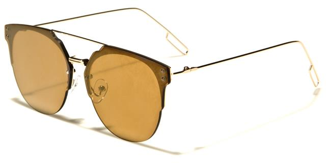 Retro RUNDE FLACHE LINSE Sonnenbrille Damen Cat Eye Steampunk Designer Spiegel tigTUG