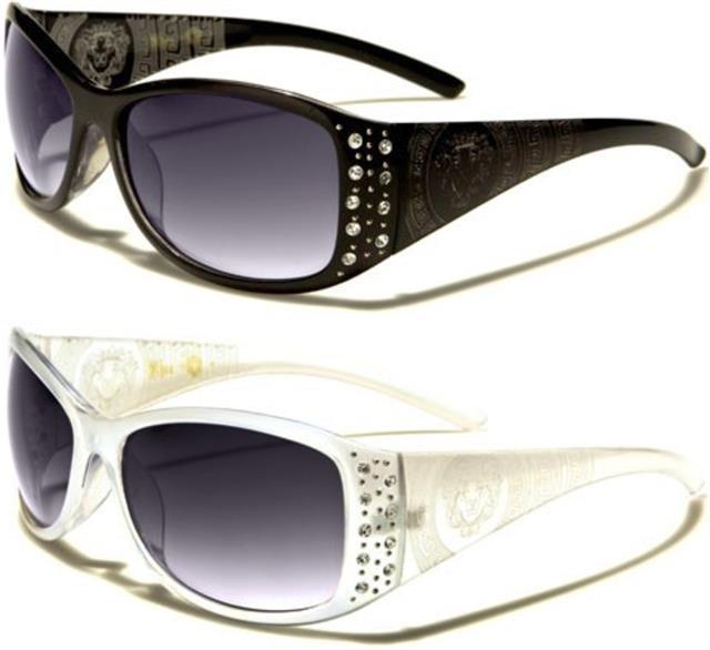 Kleo Designer Lunettes De Soleil Grand Big surdimensionné wrap strass femme UV400