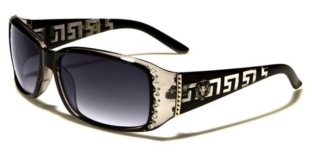 Designer Luxus schwarze Sonnenbrille Damen-Frauen Mädchen Groß Strass gewickelt 0TDflhmIc