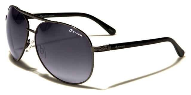 NEU schwarze Sonnenbrille OXIGEN Herren Damen UV400 Metall groß Aviator mWsTosC