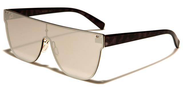 groß Sonnenbrille Herren Damen Designer flaches Brillenglas Spiegel Schild HBZ7XS05NS