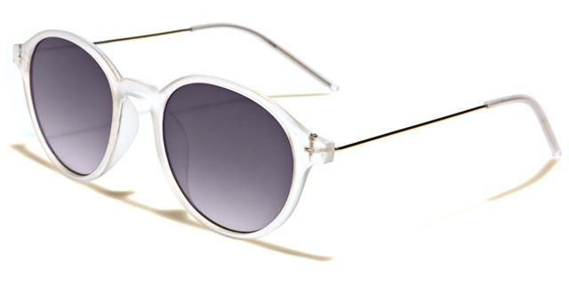 NEU schwarze Sonnenbrille Herren Damen Designer rund flaches Brillenglas Retro FcyJUg