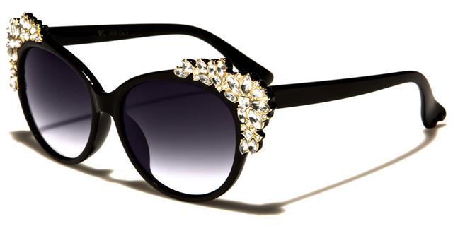 NEU VG schwarze Sonnenbrille Damen Designer groß Retro Vintage Strass gUbZnDX9dG