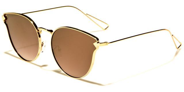 Designer Rund Groß Katzenaugen Sonnenbrille Flaches Brillenglas Metall Luxus