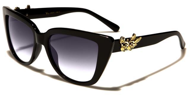Designer Grande Cat Eye occhiali da sole Big Lusso Retrò In buonissima condizione Nero UV400 Donna