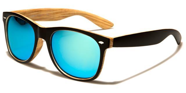 Diseñador Clásico Gafas de Sol Negras Madera Look Espejo Big UV400 Hombre Mujer