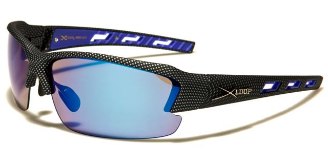 X LOOP Profil Haut Runners Lunettes de Soleil Cyclisme 2 Noir Argent Bleu