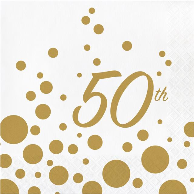 CELEBRATE 50 BIRTHDAY LUNCH NAPKINS PARTY TABLE DECORATION PKT OF 16 X 2PLY 50th