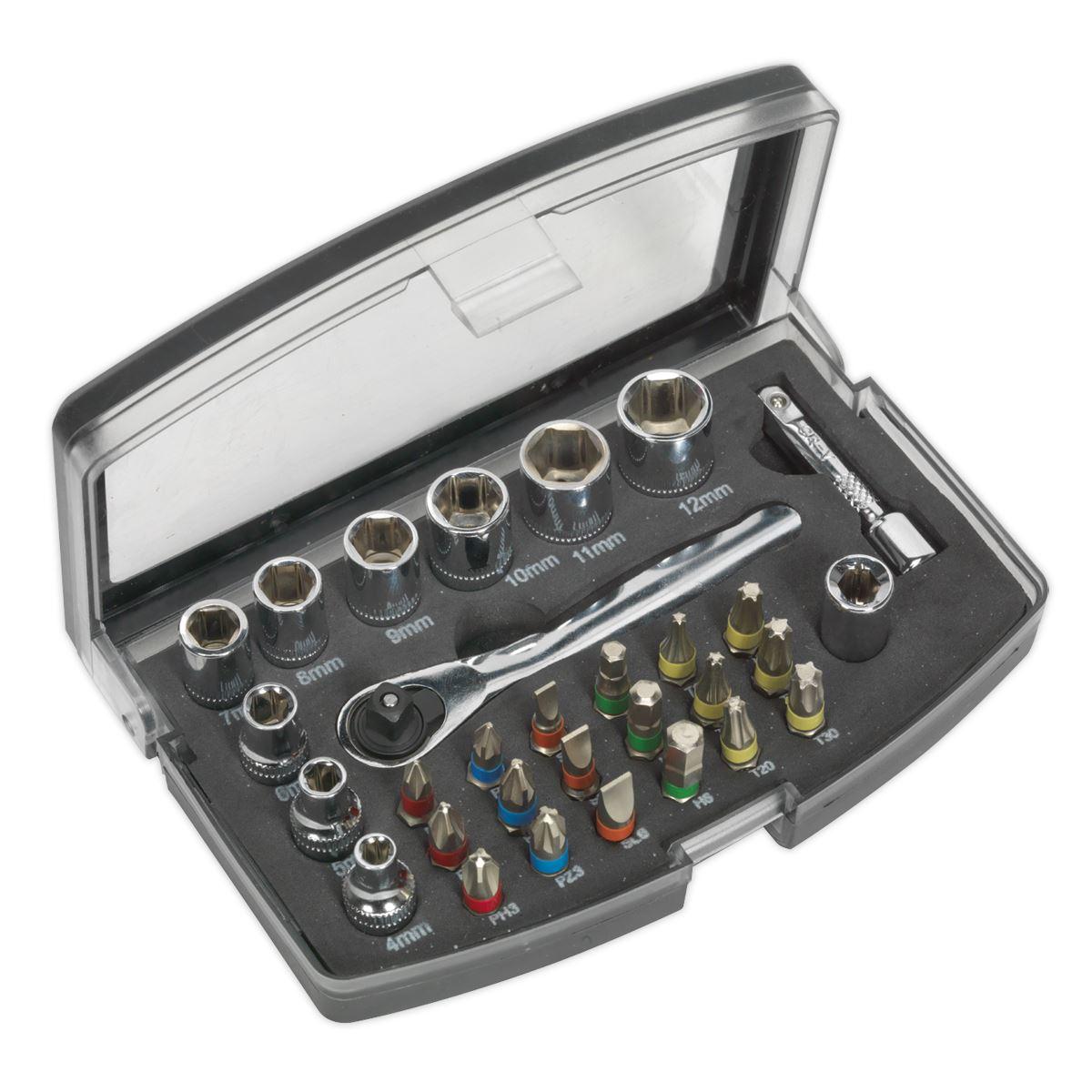 "Sealey SH1414HV Socket Holder 1//4/""Sq Drive 4-15mm Hi-Vis Green"