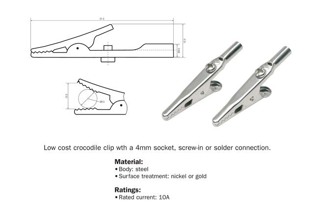Pk 2 Standard Pince Crocodile Croc Clips Pour Test Leads Batterie