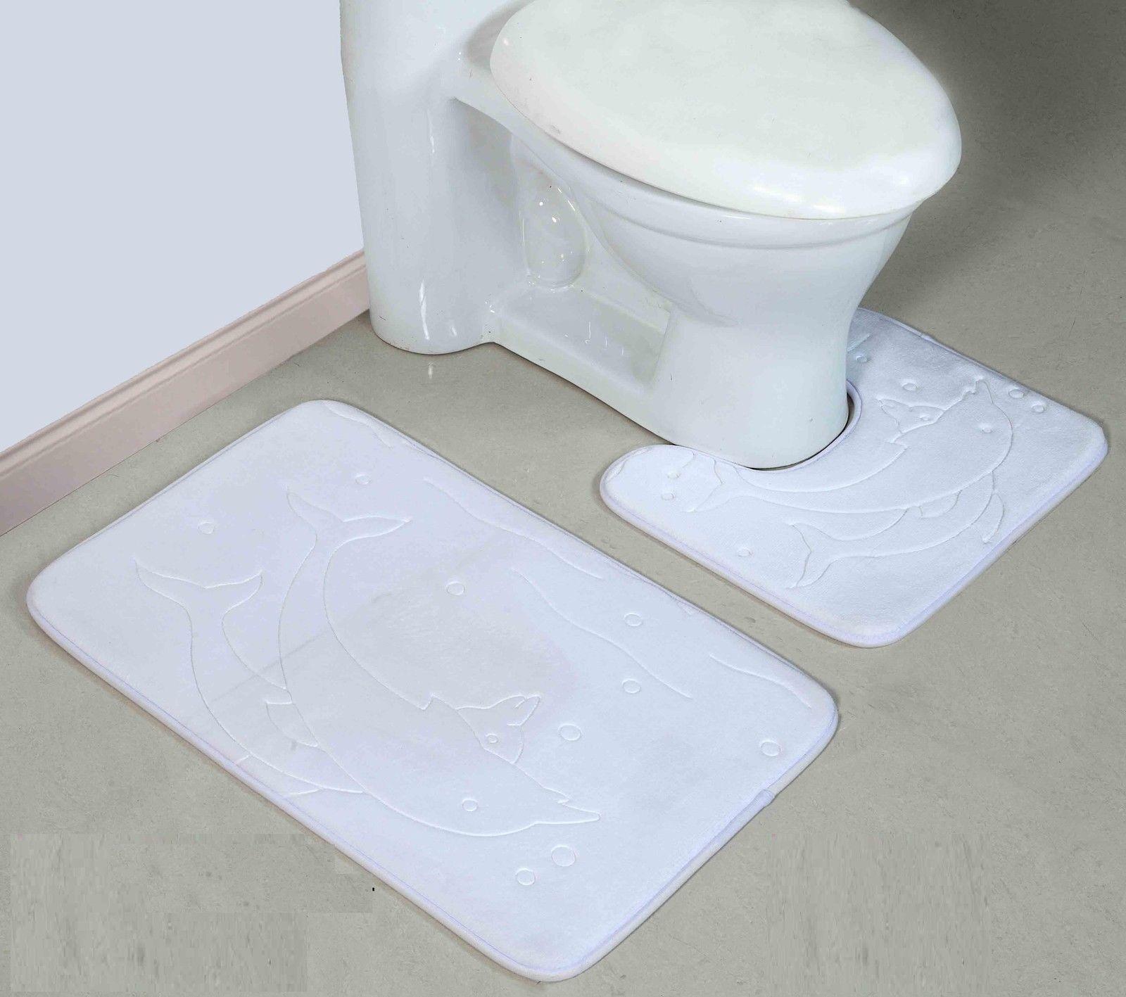 2 Piece Non Slip Microfibre Memory Foam Bath