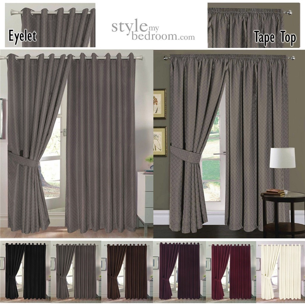 Fully Lined Jacquard Diamond Curtains Ties Duvet Cover