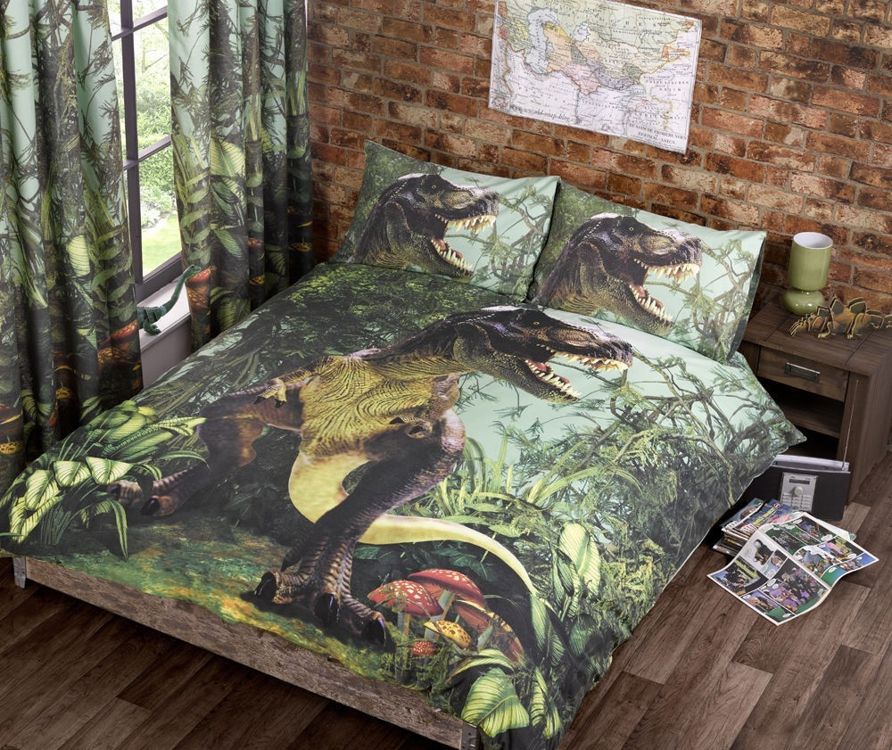 Jurassic dinosaur t rex duvet quilt cover bedding set for Style my bedroom