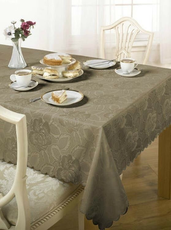 Damask Floral Jacquard Tablecloth In Various Colours Shapes
