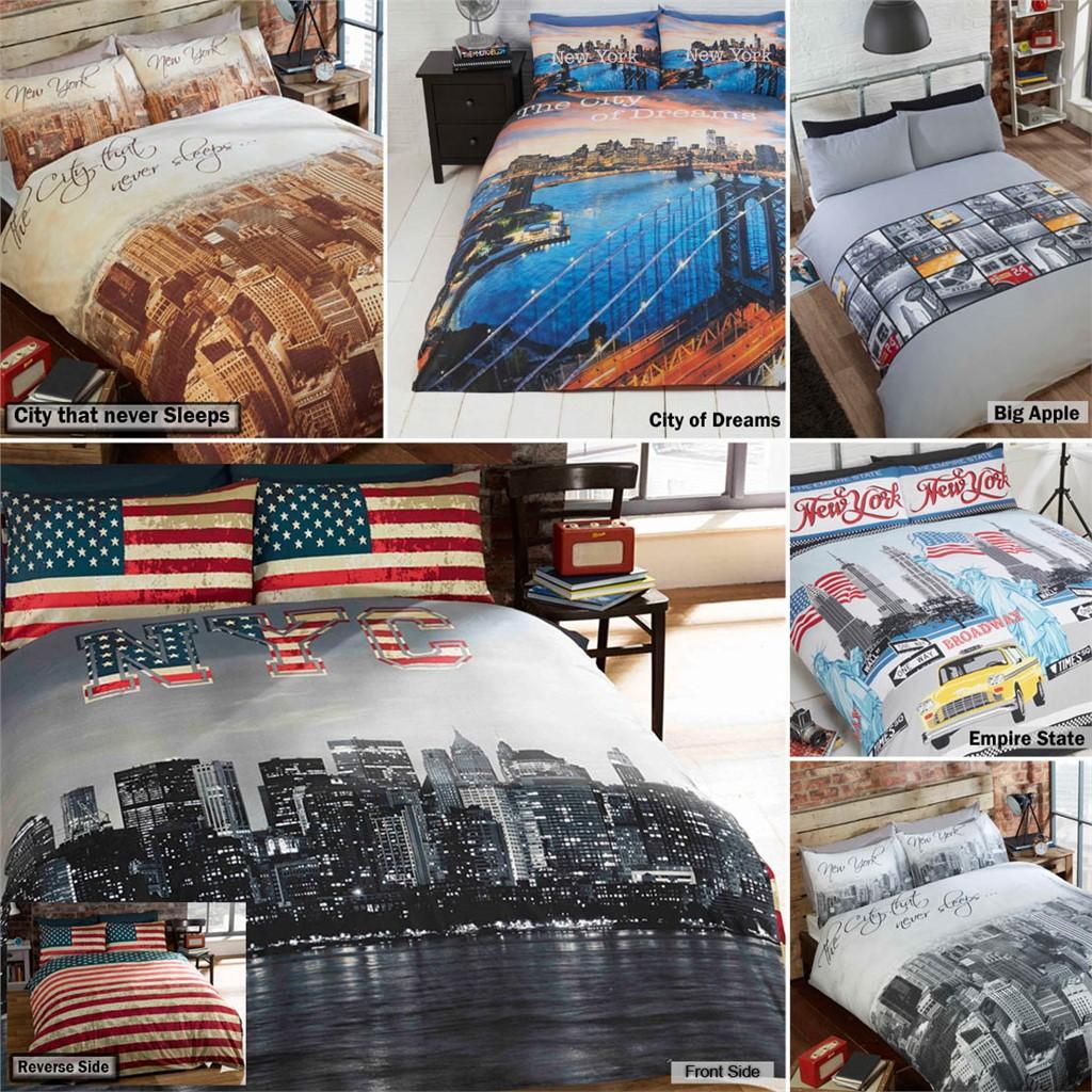 New York City Skyline Bedding Duvet Quilt Cover With