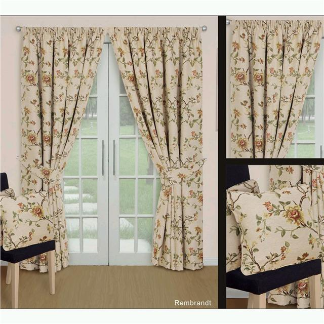 Cortina hilo color crema natural estampado flores con - Formas de cortinas ...