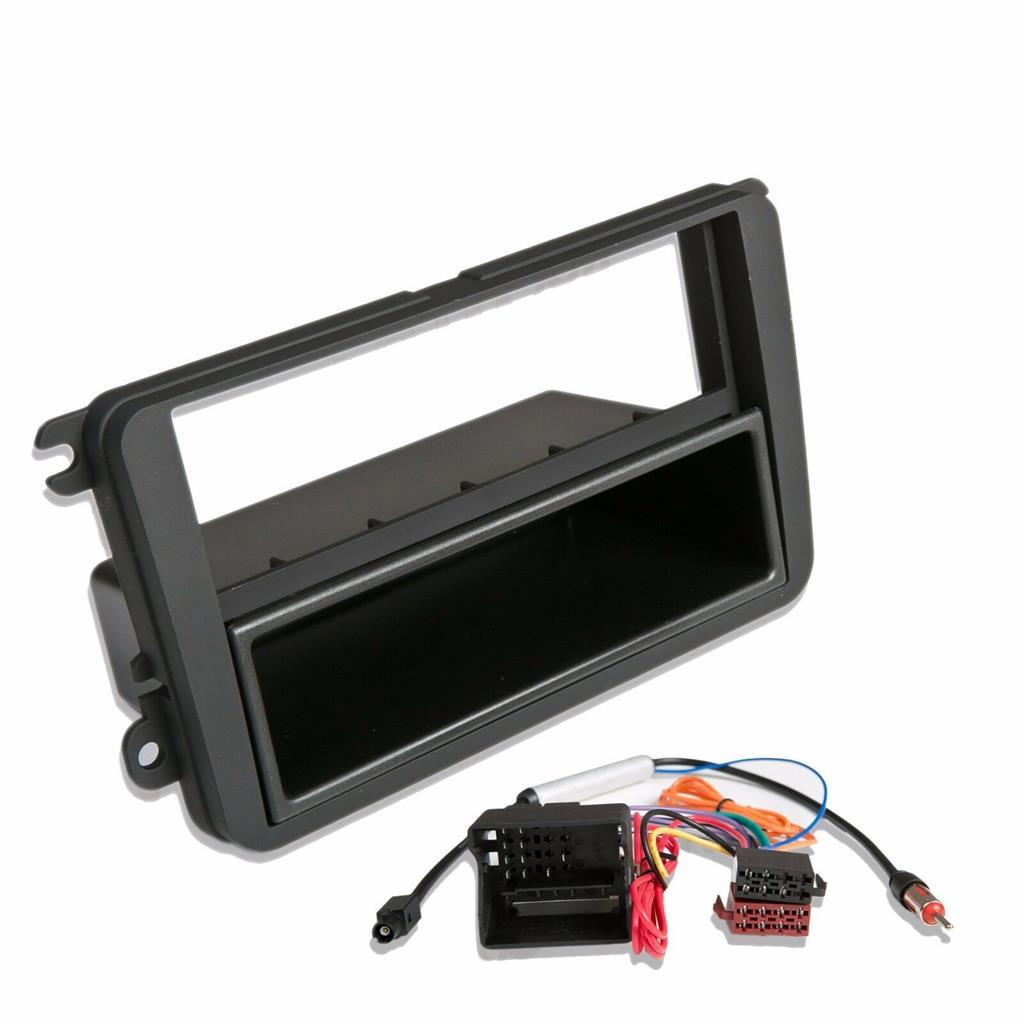 Kit de montage radio voiture 1 DIN panneau adaptateur vw sharan II 7n à partir de 9//10 Noir