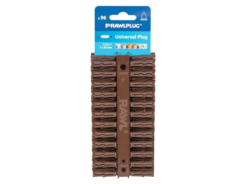 7 x 30mm by Rawlplug Clip of 96 Plugs Rawlplug Uno Brown Trade Pack