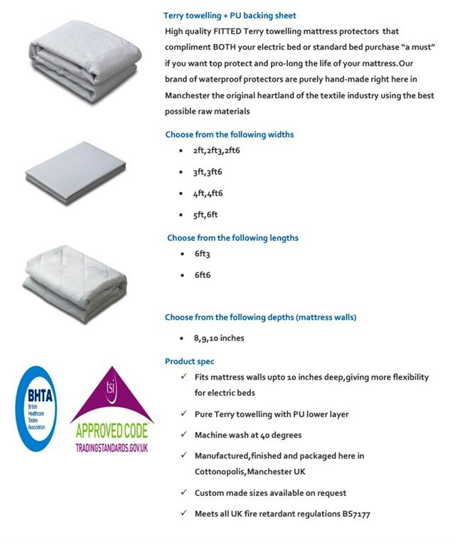 Terry Towelling Pu Fitted Mattress Protector For