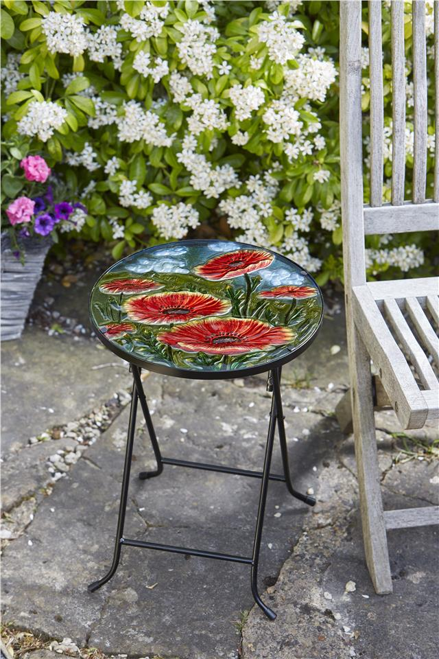 Poppy Design Folding Glass Table Hand Painted Weather Resistant Garden Outdoor 5050642010474 Ebay