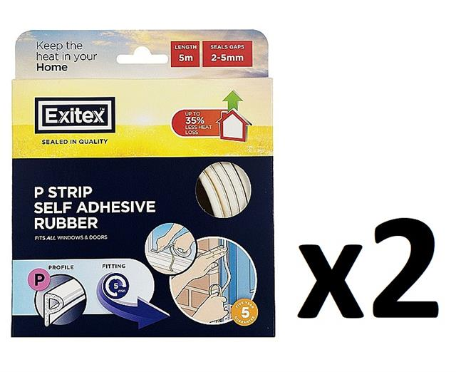 Exitex P Profile Draught Excluder Self Adhesive Rubber Door Window Seal Roll 5m