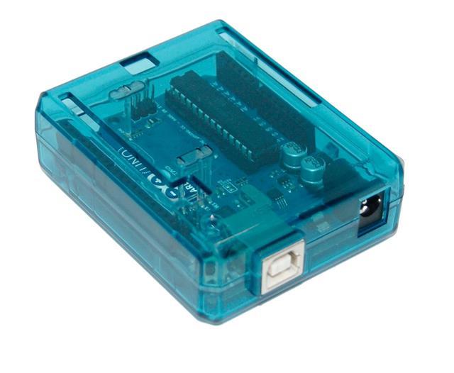 Arduino uno case enclosure transparent blue computer box