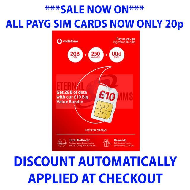 Vodafone Payg Top Up >> Payg Vodafone Big Value Bundle 30 Sim 20gb Data Only 20p