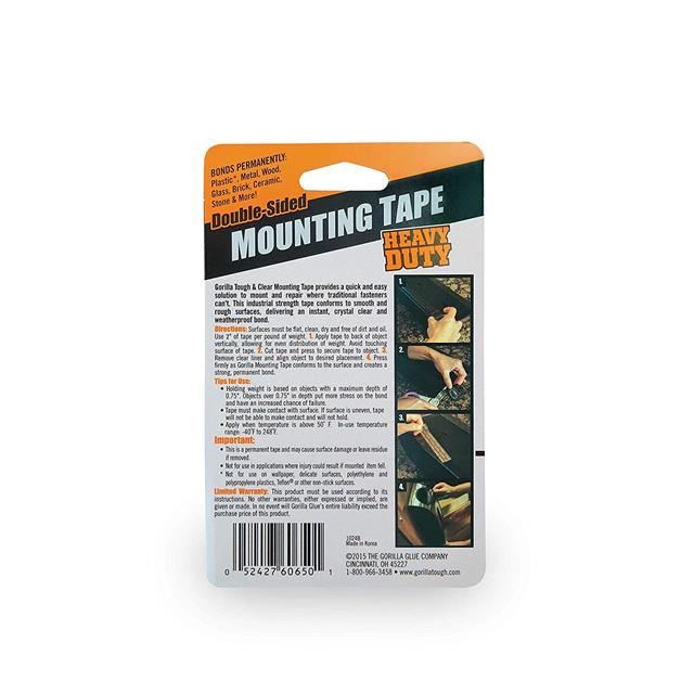 Gorilla-Glue-Heavy-Duty-Mounting-Tape-Double-Sided-Weatherproof-Clear-Black miniature 10