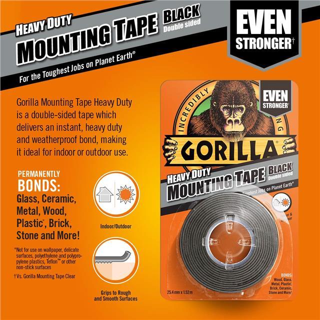 Gorilla-Glue-Heavy-Duty-Mounting-Tape-Double-Sided-Weatherproof-Clear-Black miniature 9
