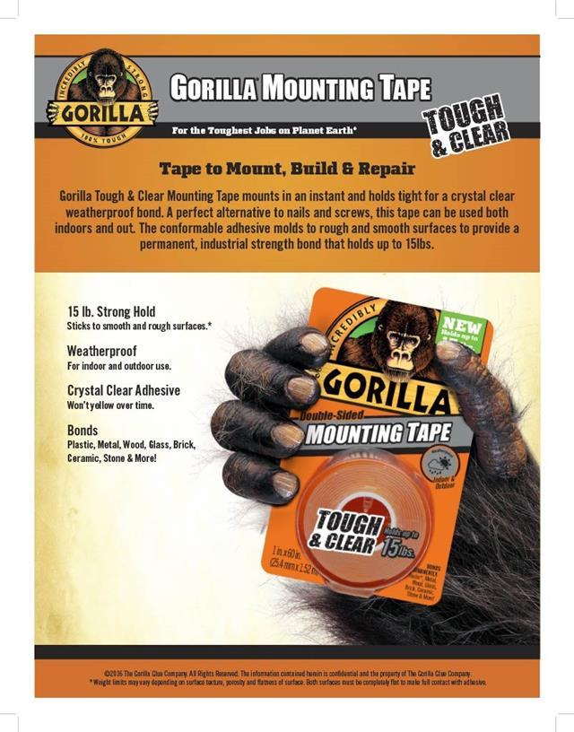 Gorilla-Glue-Heavy-Duty-Mounting-Tape-Double-Sided-Weatherproof-Clear-Black miniature 4