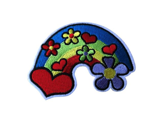 Peace Iron on Sew On Embroidered Patch Applique Embroidery Rainbow floral Motif transfer