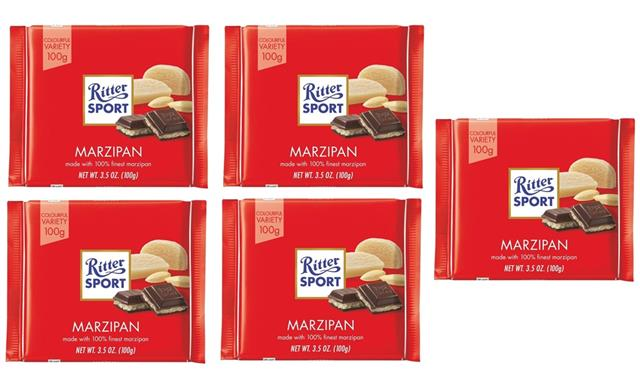 Ritter Sport Marzipan Chocolate Square Bars 100g Pack Of 5 4000417025203 Ebay
