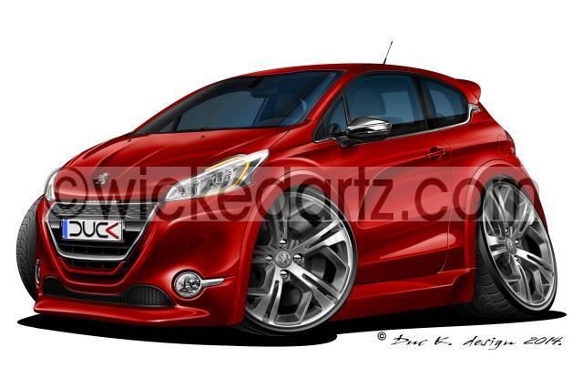 WickedKarz Cartoon Car Peugeot 208 GTi in Red Stylish Key Ring