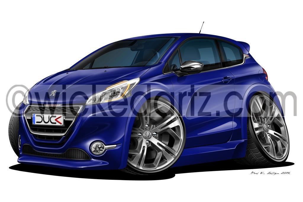 WickedArtz Cartoon Peugeot 208 GTi GT (7 Colours) iPhone 4/5/6/7 ...